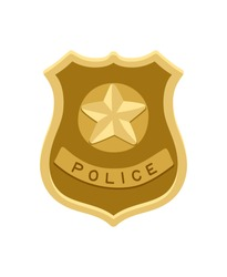 Police badge icon isolated on white background, vector illustration