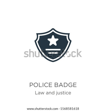 Police badge icon vector. Trendy flat police badge icon from law and justice collection isolated on white background. Vector illustration can be used for web and mobile graphic design, logo, eps10