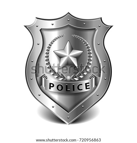 Police badge isolated on white photo-realistic vector illustration