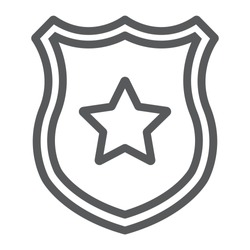Police badge line icon, officer and law, shield with star sign, vector graphics, a linear pattern on a white background, eps 10.