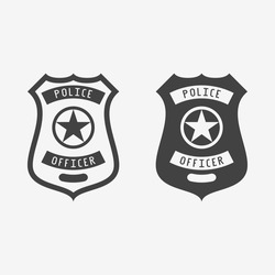 Police badge monochrome icon. Vector illustration.
