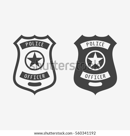 Police badge monochrome icon. Vector illustration.