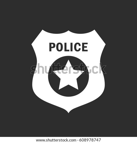 Police badge vector icon illustration isolated on black background #608978747
