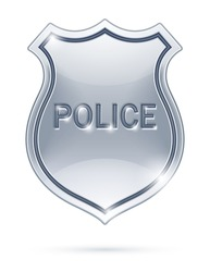 police badge vector illustration isolated on white background EPS10. Transparent objects used for shadows and lights drawing