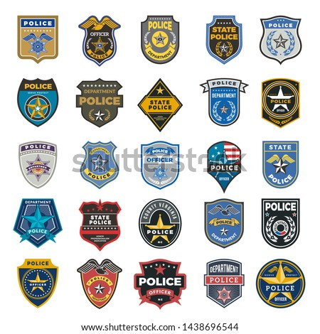 Police badges. Officer security federal agent signs and symbols police protection vector logo. Illustration of federal police, policeman insignia, officer badge