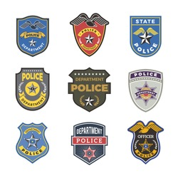 Police badges. Security signs and symbols government department officer law enforcement vector logotypes. Illustration of security officer, sheriff and cop, federal detectives