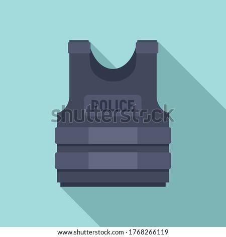 Police bulletproof vest icon. Flat illustration of police bulletproof vest vector icon for web design Stock photo ©