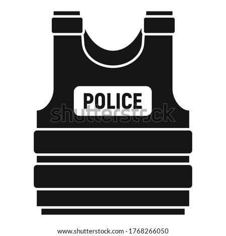Police bulletproof vest icon. Simple illustration of police bulletproof vest vector icon for web design isolated on white background Stock photo ©
