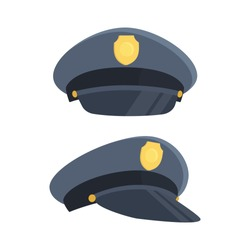 Police cap with gold badge. Side and front view. Vector illustration, flat design, cartoon style. Isolated on white background.