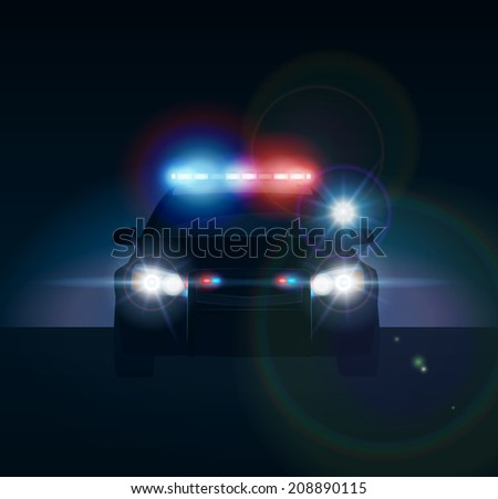Police car at night. Realistic vector illustration