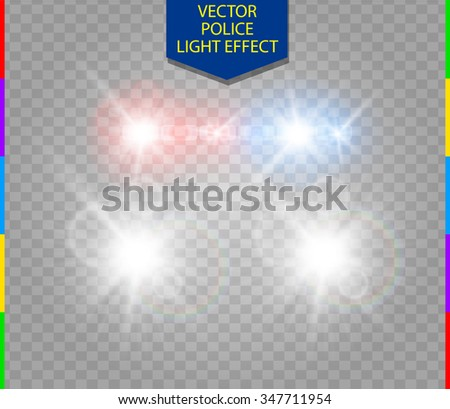 police car glow special light effect with headlights on transparent background