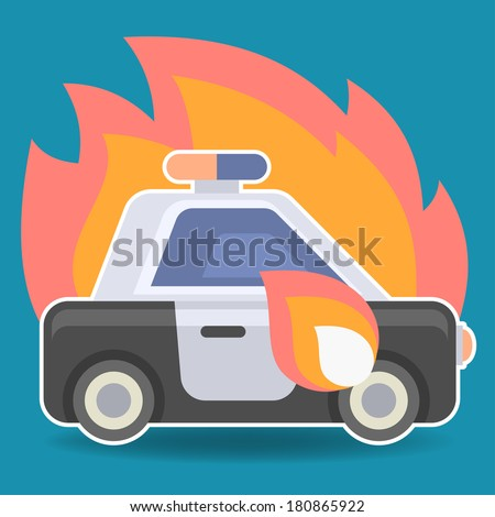 police car in flame flat icon