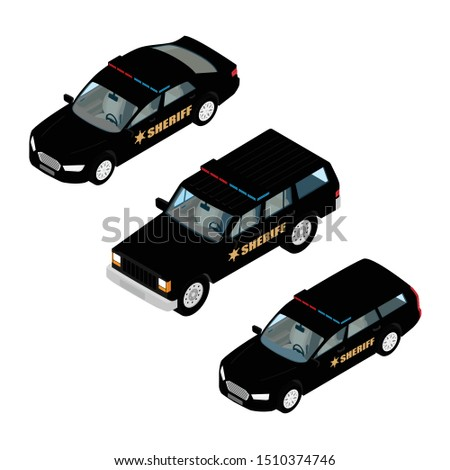 police car set isometric view