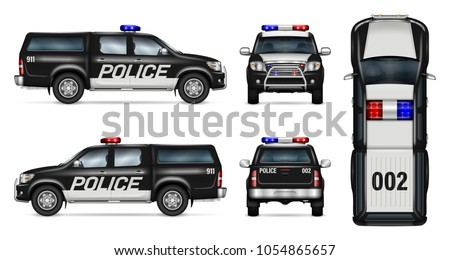 Patrol cop car vector download free vector art stock graphics police car vector mock up isolated template of black pickup truck on white background malvernweather Choice Image