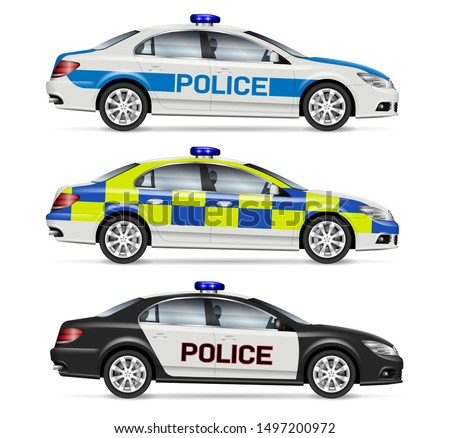 police cars side view vector
