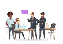 Police department design concept with employees on duty and visiting fbi officers  cartoon vector illustration