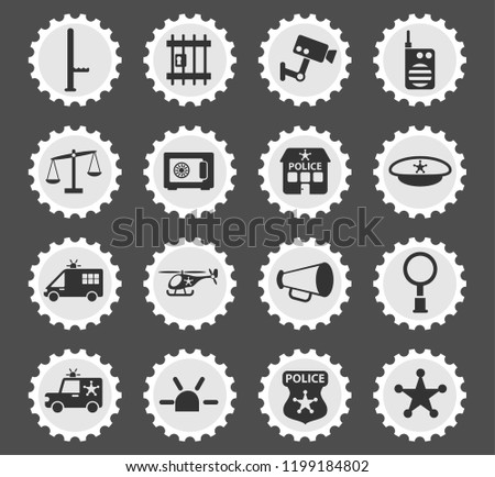 police department web icons stylized postage stamp for user interface design