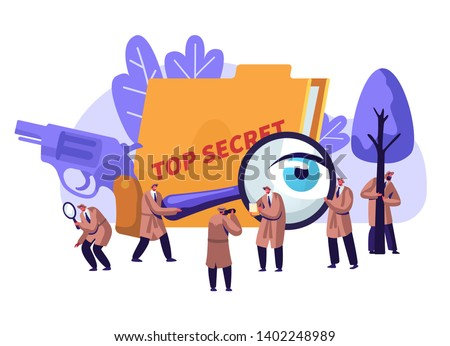 Police Detectives and Private Investigators at Work Investigating and Solving Crimes. Top Secret Undercover Agents in Hats and Cloaks with Magnifier Glass and Gun. Cartoon Flat Vector Illustration