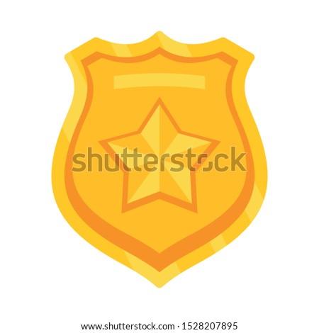 Police emblem icon. Flat illustration of police emblem vector icon for web design