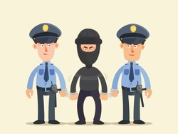 Police escort escorted a very dangerous criminal. Gangster's hand and legs chained. Killer, terrorist in black and masked. Vector illustration, flat design cartoon style. Isolated background.