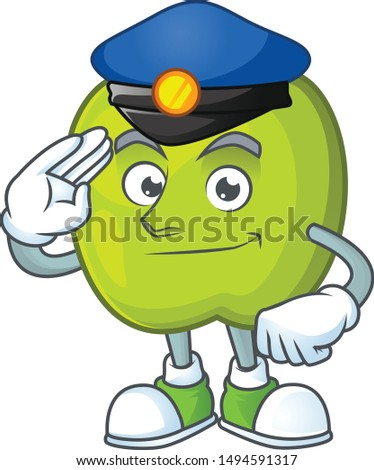 Police granny smith in a green apple character mascot