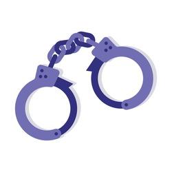 Police handcuffs icon. Flat illustration of prison handcuffs vector object.
