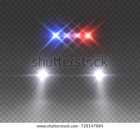Police headlights flares and siren effect front view. Realistic emergency car lights isolated on transparent background. Vector special red blue bar beams at night