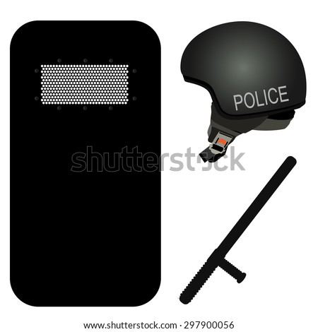 police helmet  stick and black