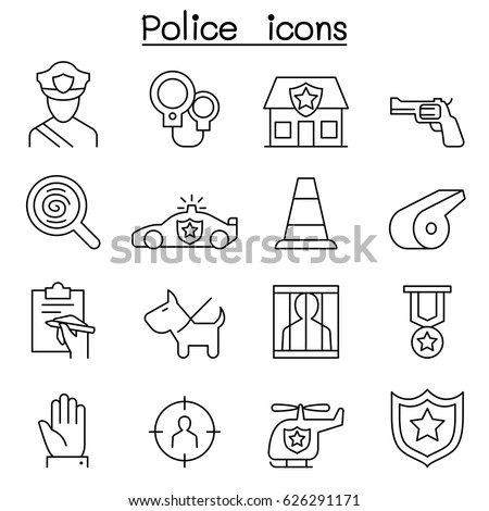 police icon set in thin line