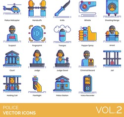 Police icons including helicopter, handcuffs, knife, whistle, shooting range, suspect, fingerprint, teargas, pepper spray, arrest, court, judge gavel, criminal record, jail, holding cell, flashlight.