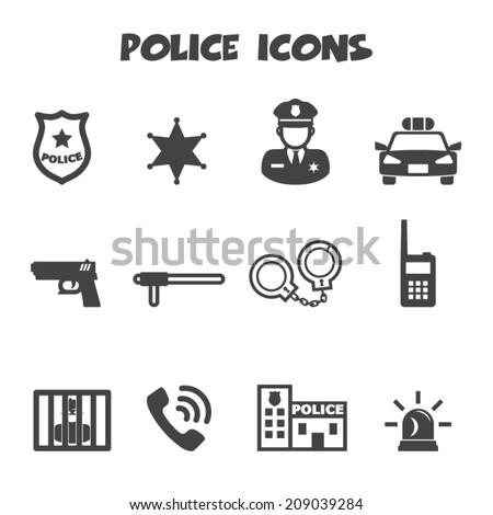 police icons, mono vector symbols