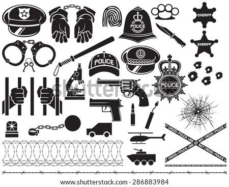 police icons set  british bobby