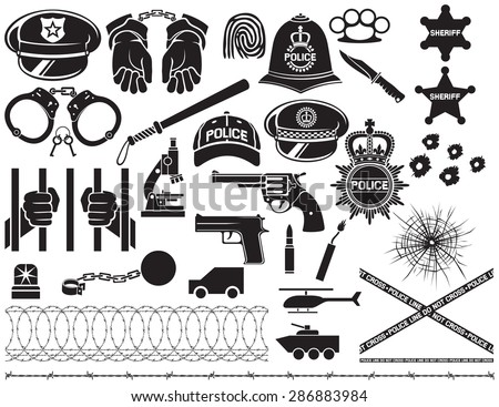 police icons set  british bobby