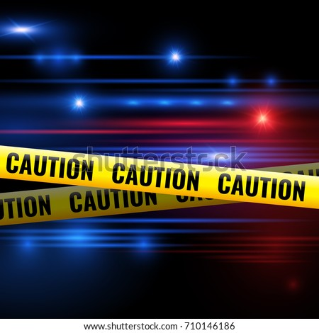 Police lights and caution tapes. Yellow caution ribbon for isolation crime scene. Vector illustration