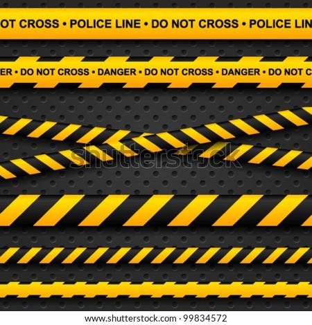 Police line and danger tapes on dark background. Vector illustration.