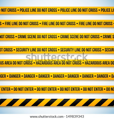 Police line and danger tapes. Vector illustration.