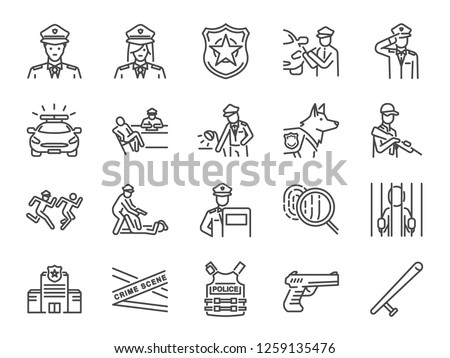 Police line icon set. Included the icons as cop, weapon, suspects, arrest, justice and more.