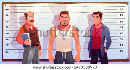Police lineup, identity parade with various age, different constitution male suspects, standing in police station under two-way mirror cartoon vector illustration. Criminals identification concept