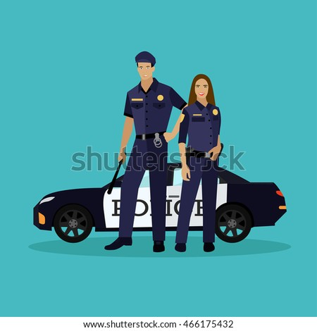 police man and woman stay next