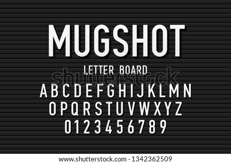 Police mugshot letter board style font, changeable alphabet letters and numbers vector illustration