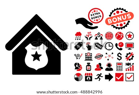 Police Office icon with bonus design elements. Vector illustration style is flat iconic bicolor symbols, intensive red and black colors, white background.