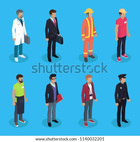 Police officer and medical worker doctor doc. Firefighter and delivery man waiter servant and businessman manager. Journalist paparazzi set vector