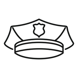 Police officer cap icon. Outline police officer cap vector icon for web design isolated on white background