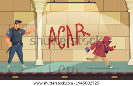 Police officer chase away graffiti artist from wall with wet paint dripping letters cartoon composition vector illustration  Foto stock ©