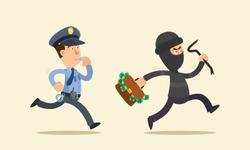 Police officer chasing thief, cop whistles. The robber hold bag with money in his hand. Vector illustration, flat cartoon style. Isolated background, side view.
