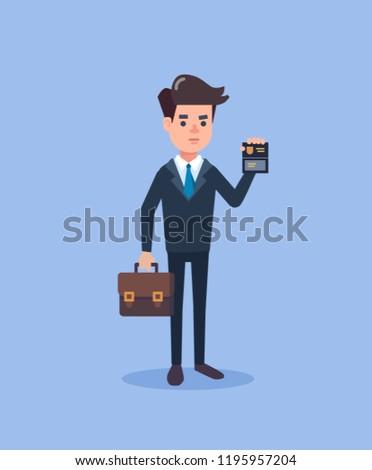 police officer, FBI or inspector character, vector illustration flat design. detection of violations, investigation, agent