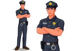 Police officer in standing pose vector illustration