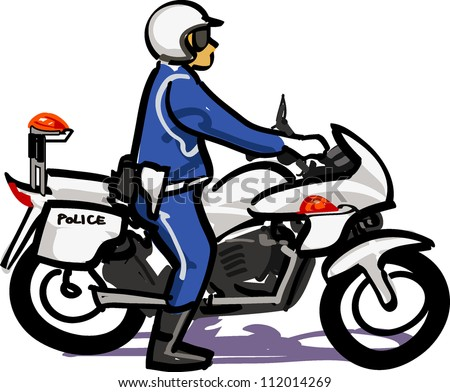 Police officer of white motorcycle - stock vector