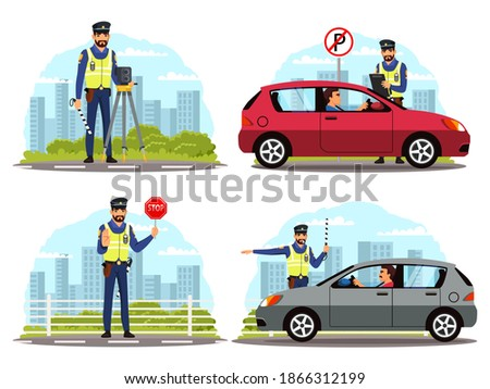 Police officer regulating traffic on road set. Policeman stopping car, standing with camera device, showing stop sign, giving signal to drive. Safe driving vector illustration. Foto stock ©