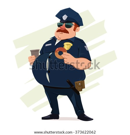 police officer with donuts and